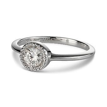 Na zawsze klasyczny okrągły 4,5 mm Moissanite moda Milgrain pierścień, rosy 0.33ct