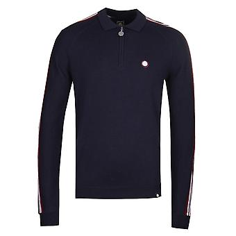 Pretty Green Long Sleeve Navy Zip Neck Knitted Polo Shirt
