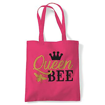 Queen Bee, Tote Bag | Reusable Shopping Cotton Canvas Bag Long Handled Natural Shopper Eco-Friendly Fashion | Gym Book Bag Birthday Present Gift Her | Multiple Colours Available