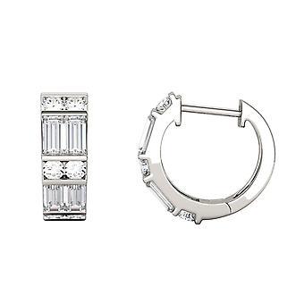14K White Gold Moissanite by Charles & Colvard 4x2mm Straight Baguette Hoop Earrings, 1.29cttw DEW