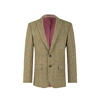 Harris Tweed uomo verde Windowpane Regular Fit 100% lana tacca bavero giacca di Tweed