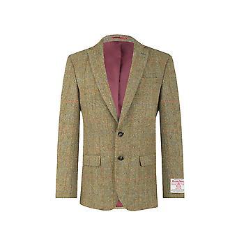 Harris Tweed verde Mens Windowpane Regular se encaixa 100% lã Notch Lapel casaco de Tweed