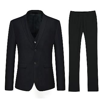 Allthemen Classic Black Two-Button Slim Fit Double Split Business Casual 3-Piece Suit Blazer Vest Trousers