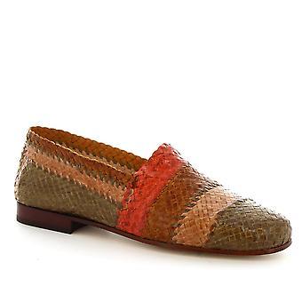 Leonardo skor kvinnors handgjorda loafers i multicolor vävda kalv läder