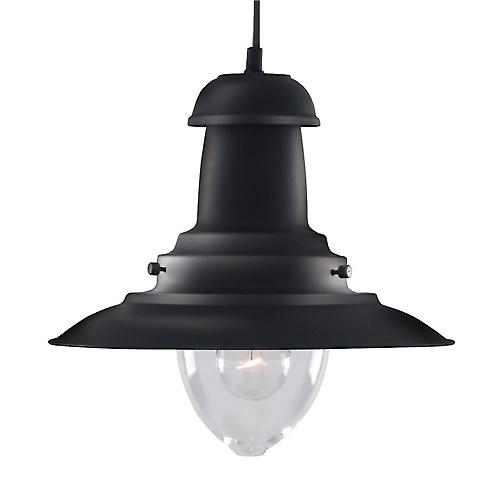 Searchlight 4301BK Fisherman Classic Style Ceiling Pendant With Clear Bell Glass -BK