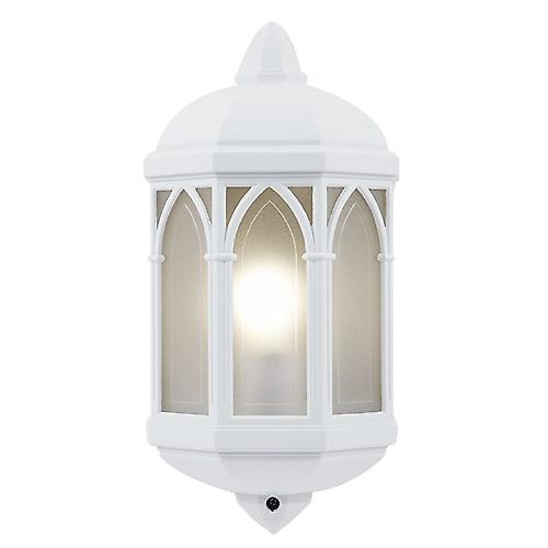 Endon YG-065-WH Modern Aluminium Flush Outdoor Wall Lantern With Frosted Panels