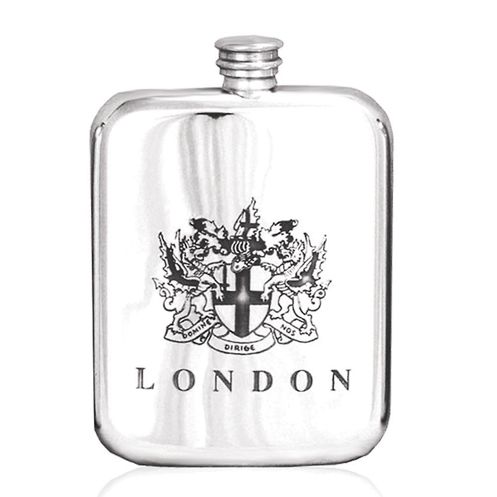 6oz London Crest Stamped Flask Pewter - Tsf675