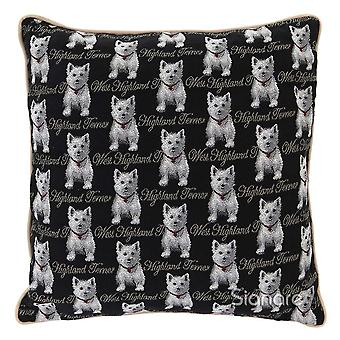Westie cushion cover by signare tapestry / 18in x 18in / ccov-wes
