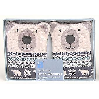 Fair Isle Animal Click & Heat Gel Hand Warmers (Pair): Polar Bear