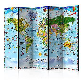 Skærmvæg - World Map for Kids II [Room Dividers]