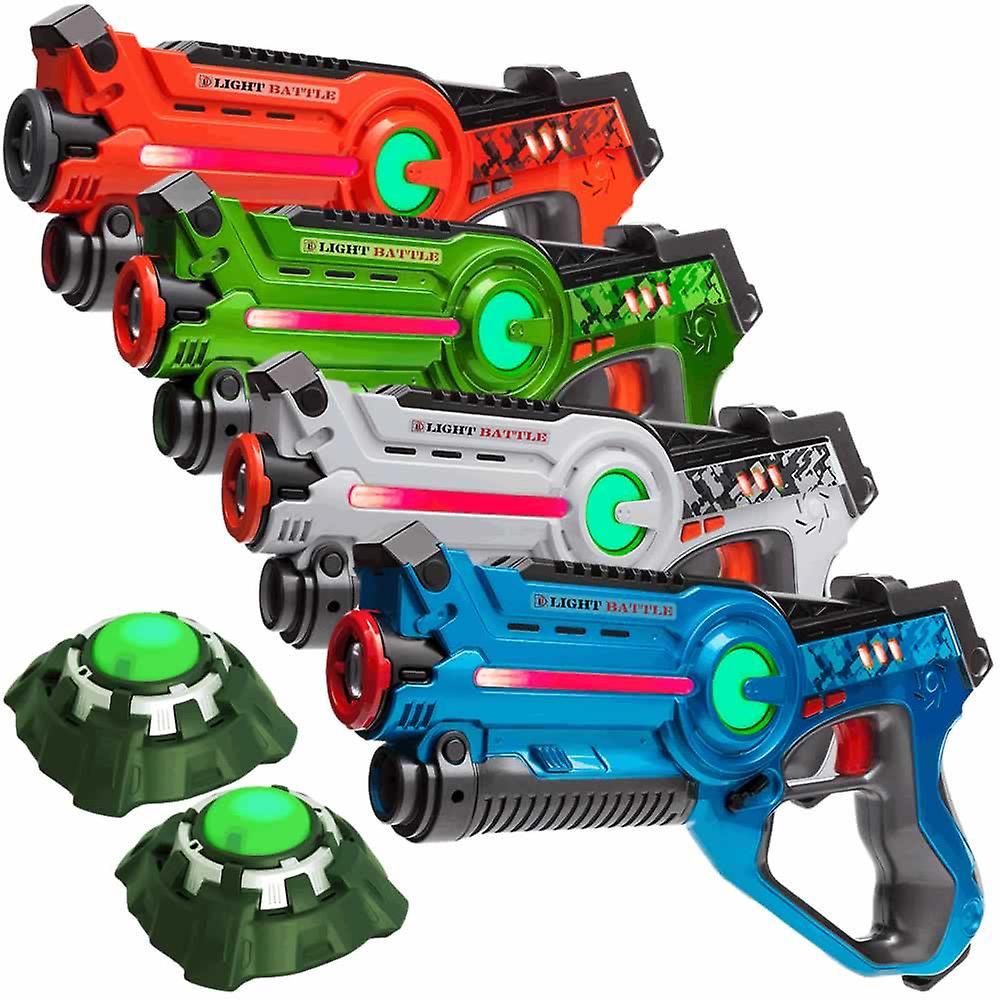 4 Pistolets laser (Orange, vert, bleu, blanc) 2 Cibles