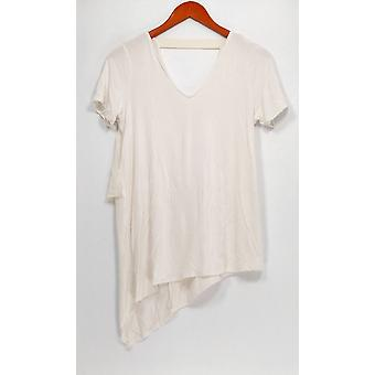 Lisa Rinna Collection Top V-Neck w/ Chiffon Detail White A303168