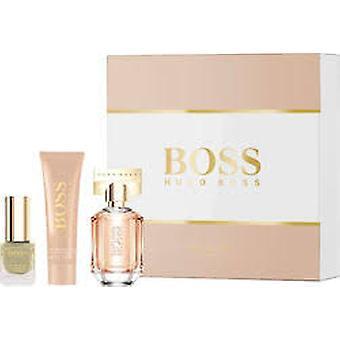 Hugo Boss duften for hendes intense Gavesæt 30ml EDP + 50ml body lotion + 4,5 ml neglelak