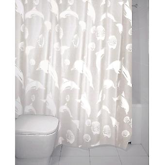 Dolphin White Peva Shower Curtain 180 x 180cm