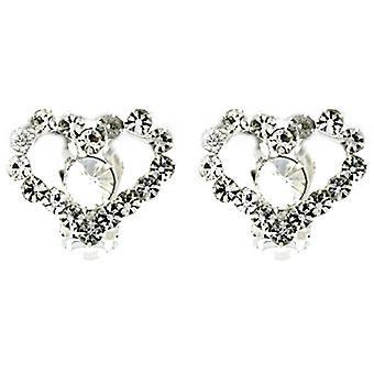 Clip On Earrings Store Diamante Crystal Love Heart Clip On Earrings