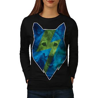 Blue Wolf Face Dog Animal Women Black Long Sleeve T-shirt | Wellcoda