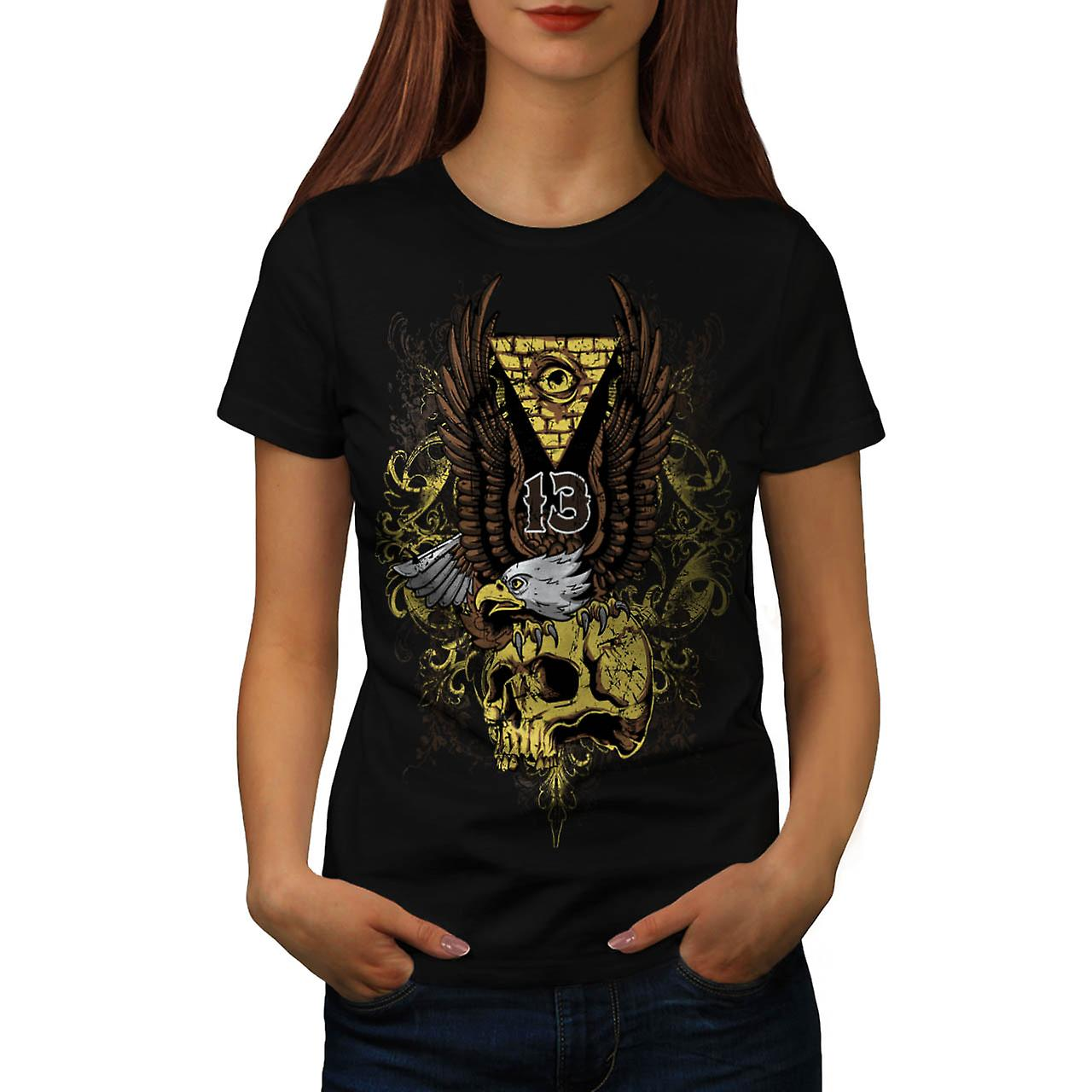 Evil Eagle Bird Skull Deadly Eye Women Black T-shirt | Wellcoda