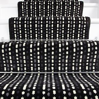 60cm Width - Modern Black White Striped Stair Carpet