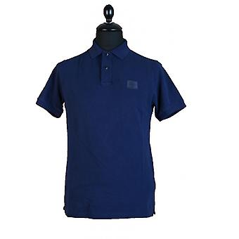 Stone Island Cotton Pique Slim Fit Polo Shirt in Navy Blue V0020 Short Sleeve