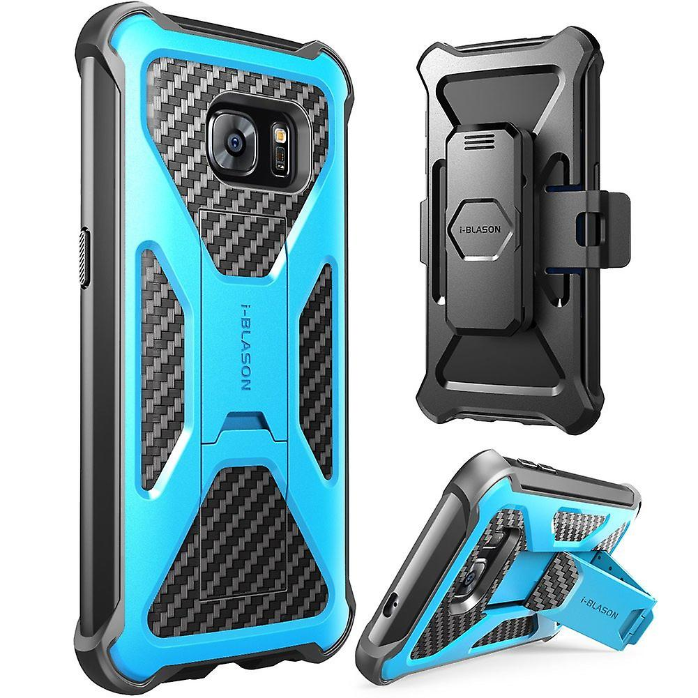 i-Blason-Samsung Galaxy S7 Prime Series Kickstand Case with Belt Clip Holster - Blue