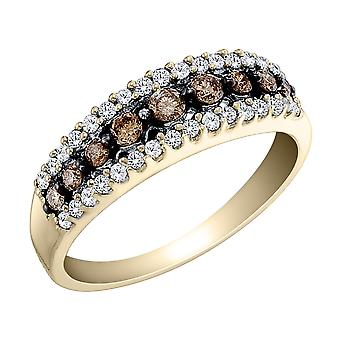White and Champagne Diamond Ring 1/2 Carat (ctw) in 10K Yellow Gold