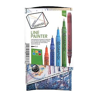 Derwent Graphik Line Painter -Set Of 5 Pens 02