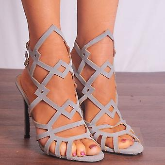 Shoe Closet Ladies Caprice-2 Grey Peep Toes Ankle Strap Strappy Sandals High Heels