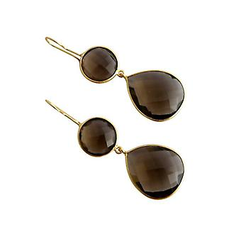 Smoky quartz earrings smoky quartz earrings gold plated earrings gold gems
