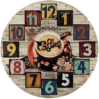 AMS 9469 wall clock quartz mineral glass printed with wood-look