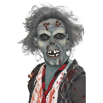 Zombie mask Halloween of decaying skull with hair