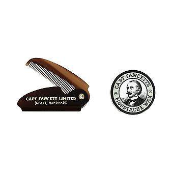 Captain Fawcett's Ylang Ylang Moustache Wax and Folding Moustache Comb