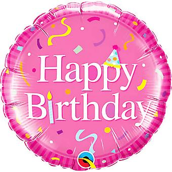 Qualatex 18 Inch Pink Happy Birthday Circle Foil Balloon