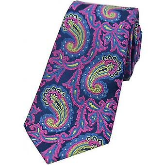 David Van Hagen Large Edwardian Paisley Silk Tie - Navy/Pink