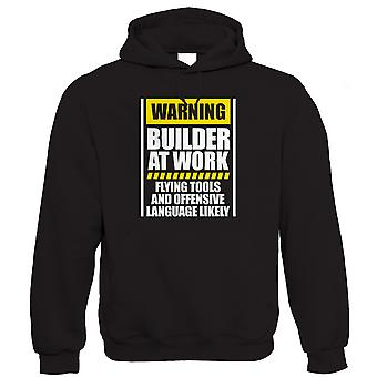 Warning Builder At Work Hoodie (S to 5XL)