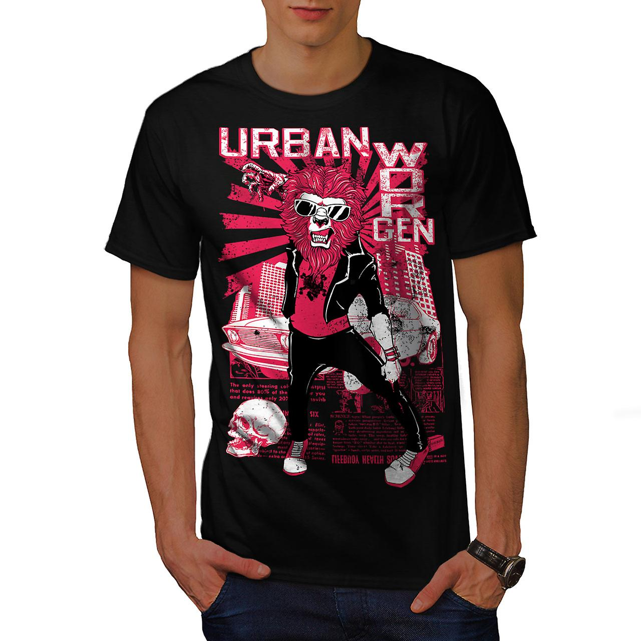 Urban Worgen City Animal Men Black T-shirt | Wellcoda