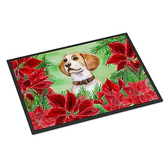 Carolines Treasures  CK1334MAT Beagle Poinsettas Indoor or Outdoor Mat 18x27