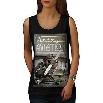 Vintage Aviation Women BlackTank Top | Wellcoda