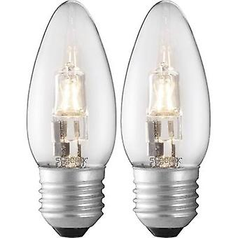 Eco halogen 100 mm Sygonix 230 V E27 28 W Warm white EEC: C Candle shape dimmable 2 pc(s)