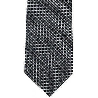 Michelsons of London Checkerboard Grid Polyester Tie - Grey