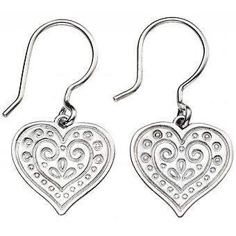 Beginnings Engraved Heart Drop Earrings - Silver
