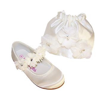 Girls ivory satin flower girl ballerinas and drawstring bag