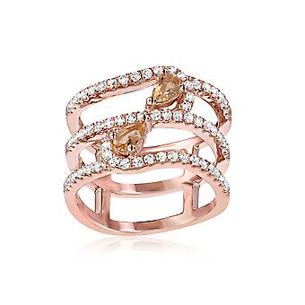 Silver Ring 925 Rose Gold Plated with 66 Swarovski Zirconia White and Champagne Crystals