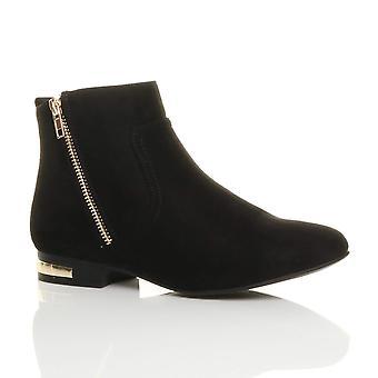 Ajvani mujeres bajo contraste de oro zip de talón a pixie tobillo botas botines