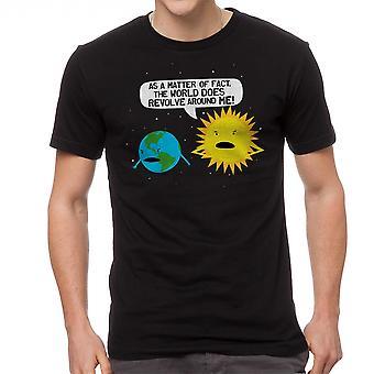 Humor världen kretsar mäns svart T-shirt