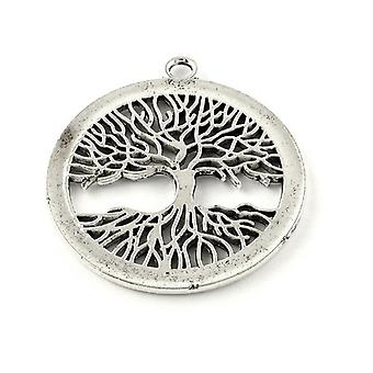 Packet 2 x Antique Silver Tibetan 41 x 47mm Tree Charm/Pendant Y08660