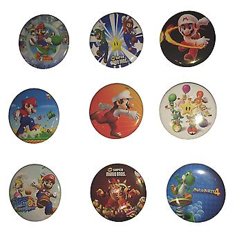 16 x Medium Size Badges | SUPER MARIO | Ideal Party Bag Badges | 16 Randomly Selected Mario Badges