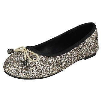 Girls Spot On Glitter Ballerinas H2488 - Gold Glitter - UK Size 1 - EU Size 33 - US Size 2