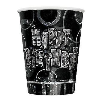 誕生日派手黒・銀のハッピーバースデー黒プリズム カップ