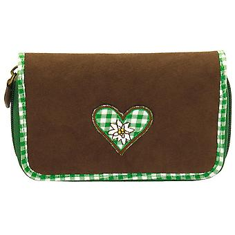 Traditional Bavaria, Velvet Brown, women's wallet purse with checkered cotton