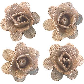 With Love By Momenta Burlap Flowers 4/Pkg-Natural
